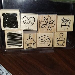 Layering rubber stamps